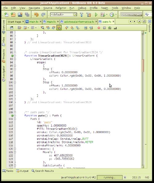Pantallazo-JavaFXApplication4 - NetBeans IDE 6.9 Beta-1