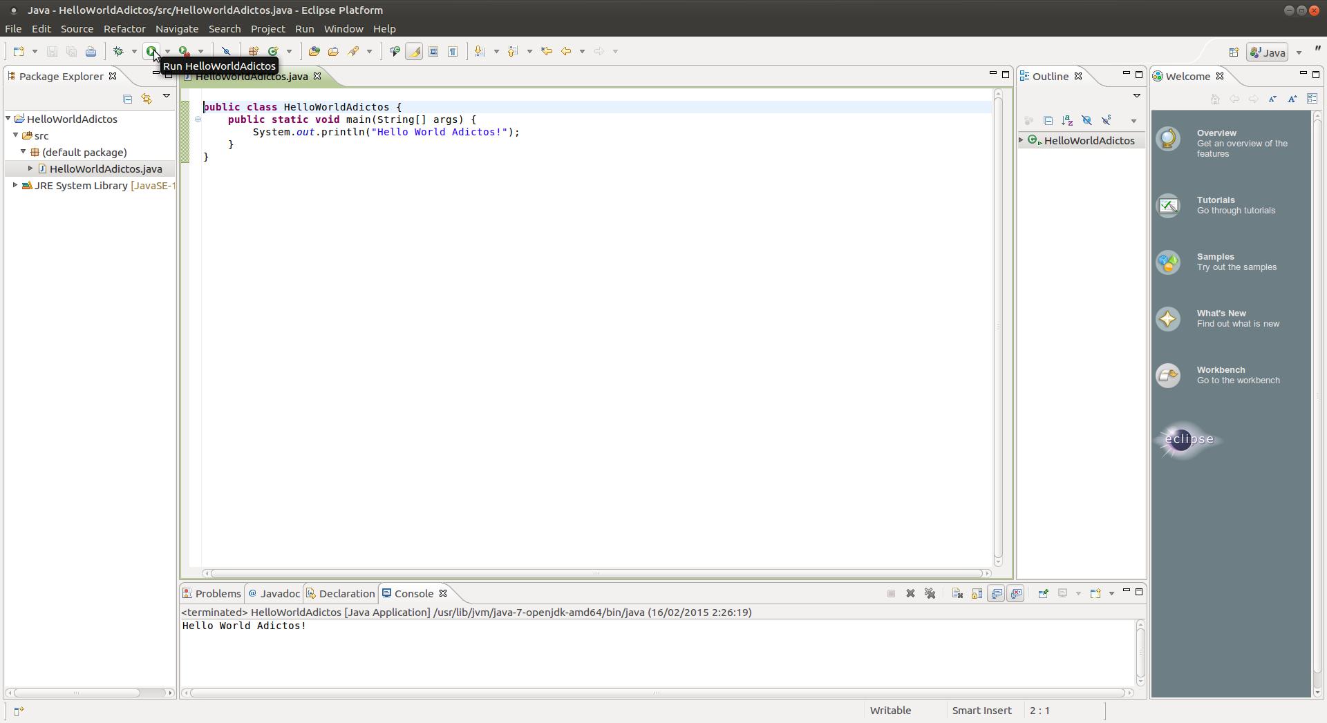 Captura-Java - HelloWorldAdictos-src-HelloWorldAdictos.java - Eclipse Platform